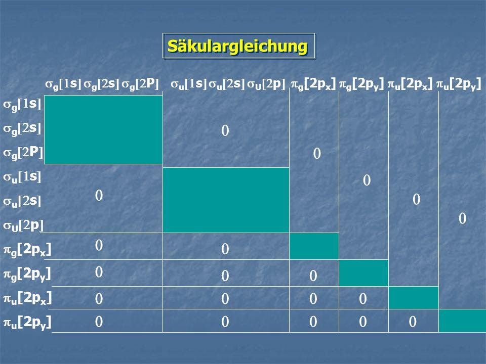 Säkulargleichung sg[1s] sg[2s] sg[2P] su[1s] su[2s] sU[2p] pg[2px]